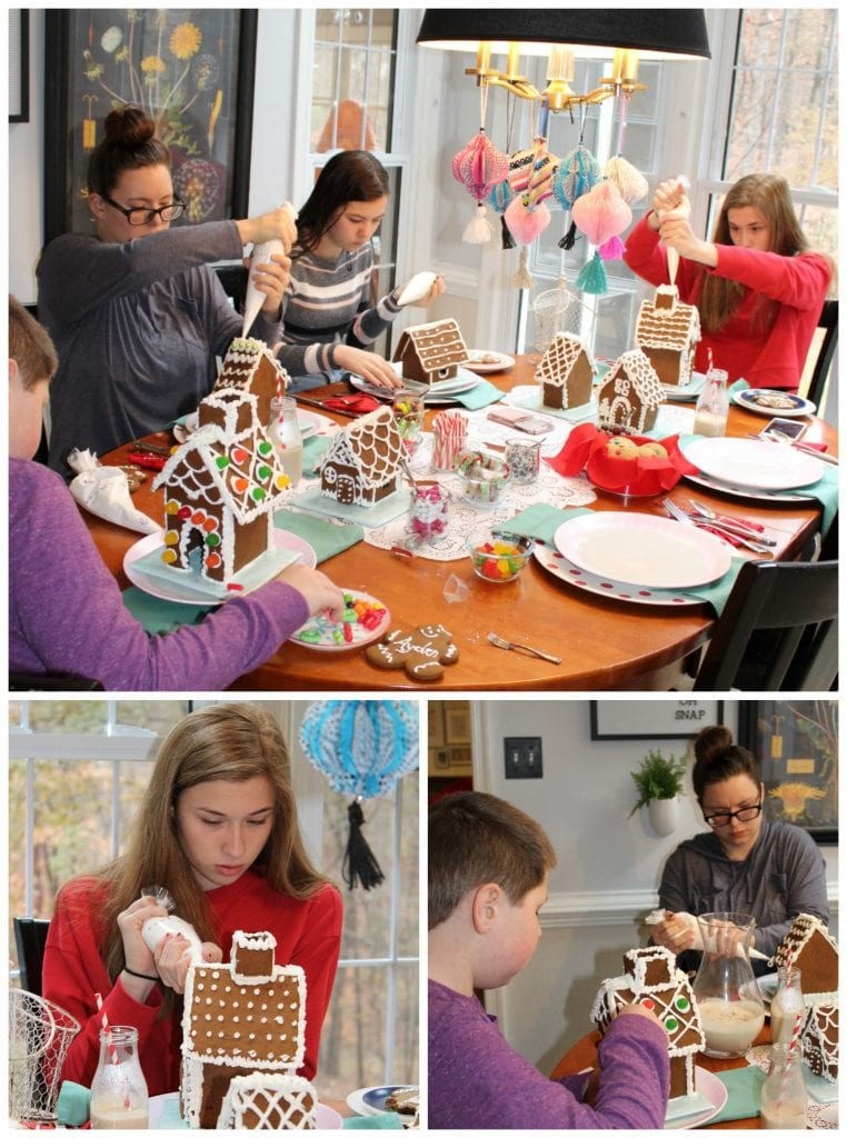 christmas table - making gingerbread houses