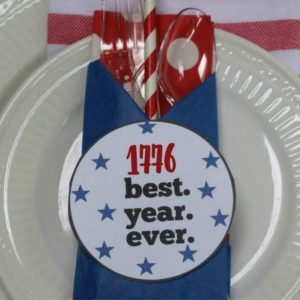 Red White and Blue Napkin Fold Labels