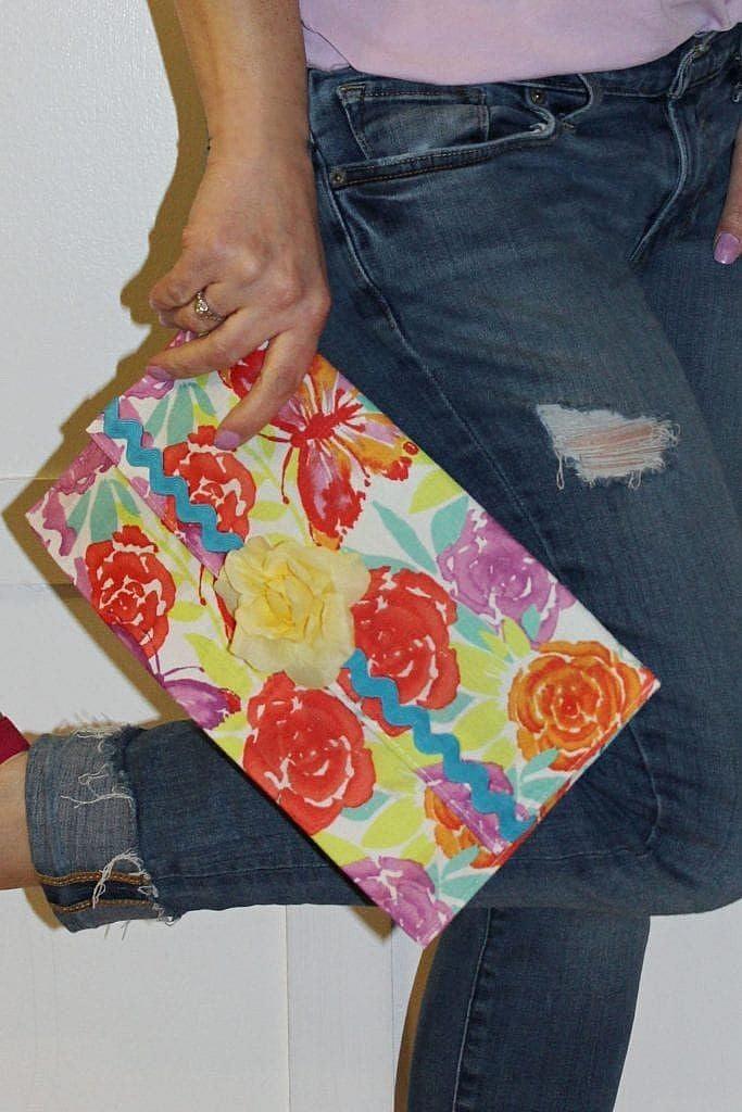 floral diy clutch purse