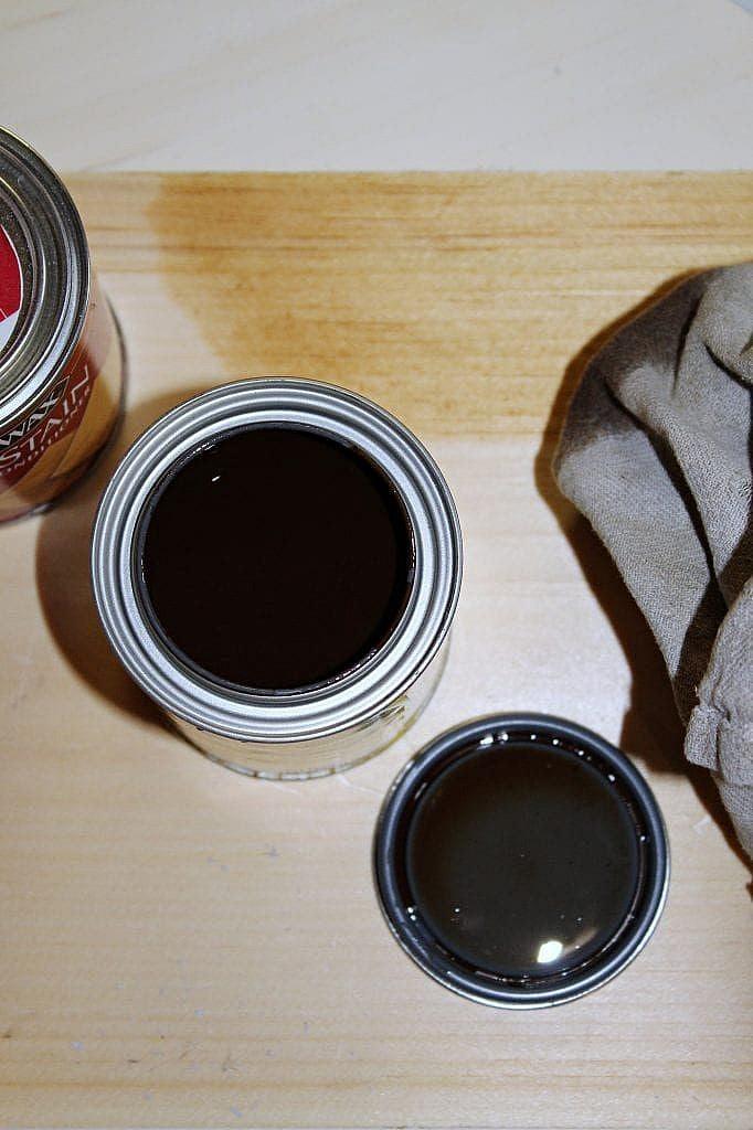 diy farmhouse table - staining