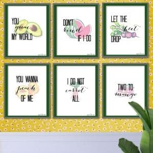 Adorable Fruit + Vegetable Puns Kitchen Art Prints