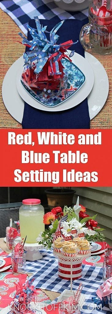 RED WHITE AND BLUE TABLE SETTING IDEAS