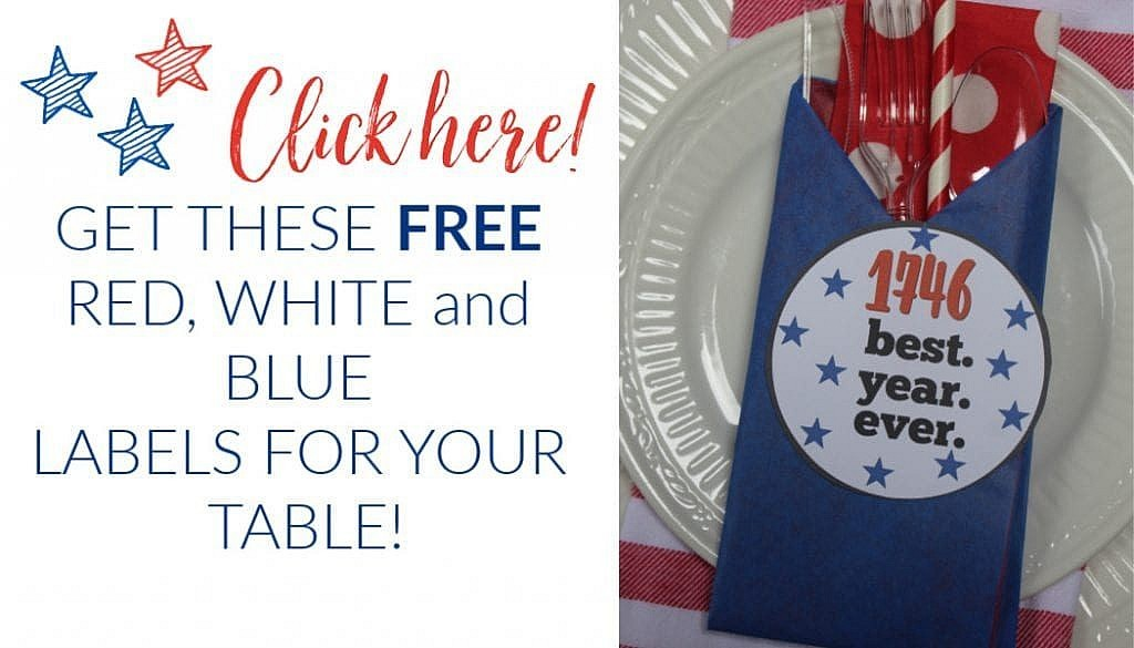 Red white and blue labels - banner