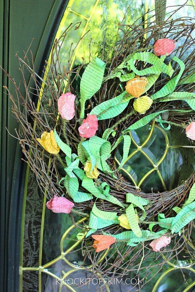 bookpage spring front door wreath