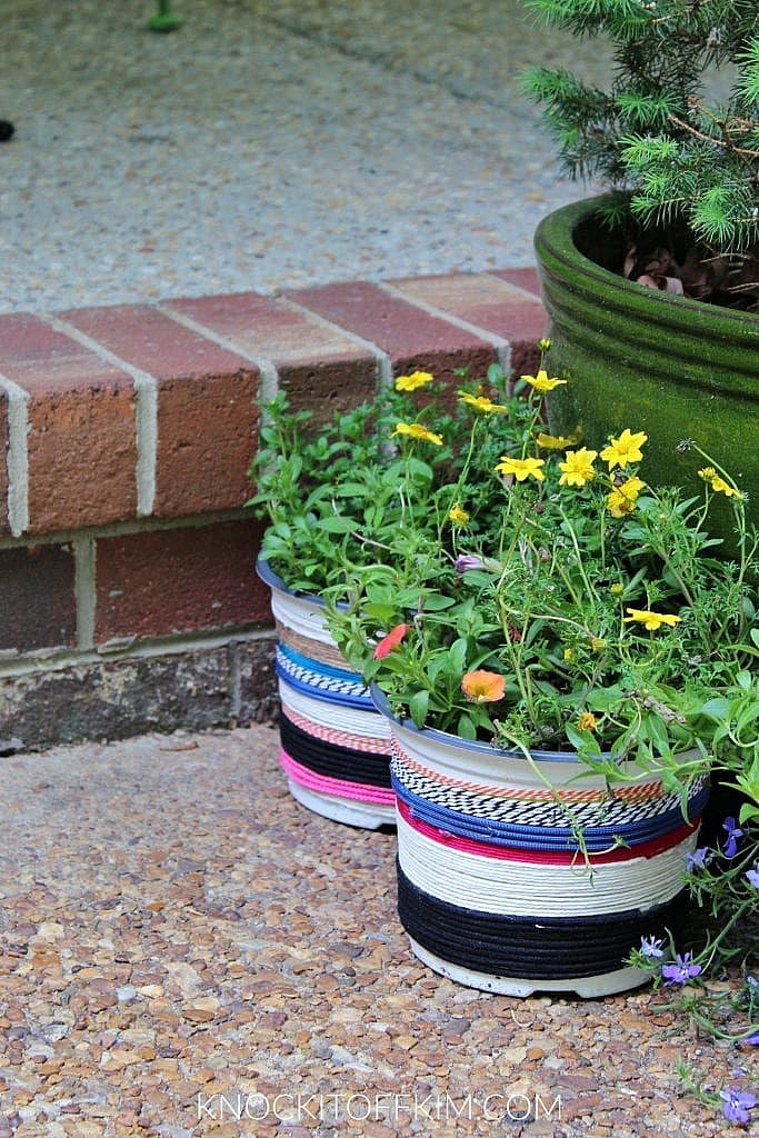 front porch decorating ideas - diy planters
