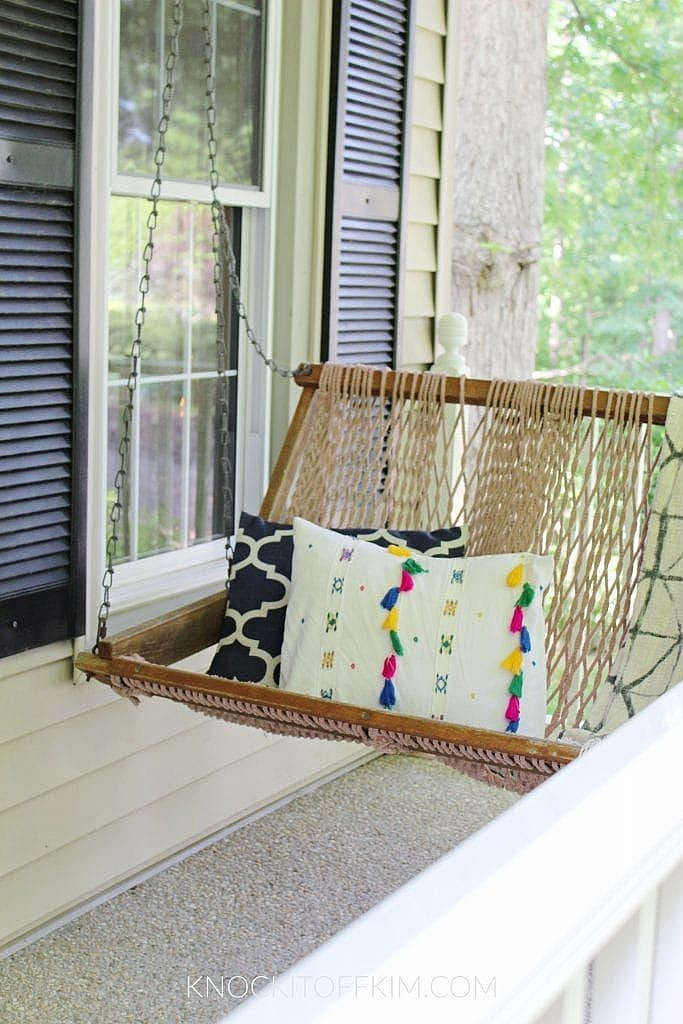 spring front porch decor - porch swing